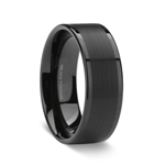 WOLFGANG Flat Black Titanium Ring with Brushed Center and Polished Edges - 8 mm