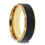 BEAUMONT Gold Plated Black Titanium Polished Beveled Ring with Brushed Center - 8mm