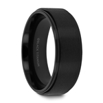 BABYLON Flat Black Titanium Ring with Brushed Raised Center & Polished Edges - 8mm