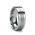 MAGNUM Flat Titanium Wedding Ring with Brushed Center and Polished Edges - 8 mm