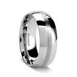NELSON Domed Titanium Ring with Brushed Stripe - 8mm