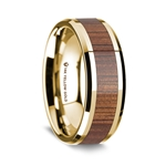 14K Polished Beveled Edges Yellow Gold Ring with Rare Koa Wood Inlay - 8 mm