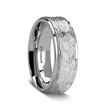 MINISTER Titanium Ring with Raised Hammered Finish and Polished Step Edges - 8 mm
