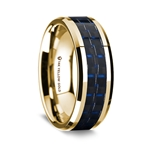 14K Yellow Gold Polished Beveled Edges Wedding Ring with Black and Dark Blue Carbon Fiber Inlay - 8 mm