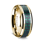 14K Yellow Gold Polished Beveled Edges Wedding Ring with Black and Green Carbon Fiber Inlay - 8 mm