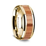 14K Yellow Gold Polished Beveled Edges Wedding Ring with Red Oak Wood Inlay - 8 mm
