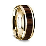 14K Yellow Gold Polished Beveled Edges Wedding Ring with Black Walnut Wood Inlay - 8 mm