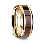 14K Yellow Gold Polished Beveled Edges Wedding Ring with Redwood Inlay - 8 mm
