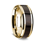 14K Yellow Gold Polished Beveled Edges Wedding Ring with Ebony Wood Inlay - 8 mm