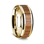 14K Yellow Gold Polished Beveled Edges Wedding Ring with Teakwood Inlay - 8 mm