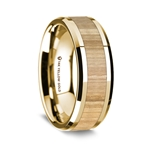 14K Yellow Gold Polished Beveled Edges Wedding Ring Ash Wood Inlay - 8 mm