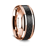 14k Rose Gold Polished Beveled Edges Wedding Ring with Black Carbon Fiber Inlay - 8 mm