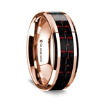 14k Rose Gold Polished Beveled Edges Wedding Ring with Black and Red Carbon Fiber Inlay - 8 mm