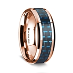 14k Rose Gold Polished Beveled Edges Wedding Ring with Black and Blue Carbon Fiber Inlay - 8 mm