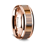14k Rose Gold Polished Beveled Edges Wedding Ring with Zebra Wood Inlay - 8 mm