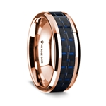14k Rose Gold Polished Beveled Edges Wedding Ring with Black and Dark Blue Carbon Fiber Inlay - 8 mm