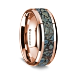 14K Rose Gold Polished Beveled Edges Wedding Ring with Blue Dinosaur Inlay - 8 mm