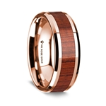 14K Rose Gold Polished Beveled Edges Wedding Ring with Padauk Inlay - 8 mm