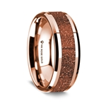 14K Rose Gold Polished Beveled Edges Wedding Ring with Orange Goldstone Inlay - 8 mm