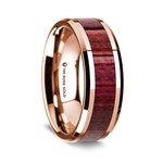 14K Rose Gold Polished Beveled Edges Wedding Ring with Purple Heart Wood Inlay - 8 mm