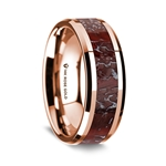14K Rose Gold Polished Beveled Edges Wedding Ring with Red Dinosaur Bone Inlay - 8 mm