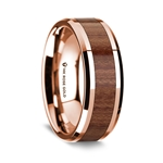 14K Rose Gold Polished Beveled Edges Wedding Ring with Rosewood Inlay - 8 mm