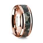 14K Rose Gold Polished Beveled Edges Wedding Ring with Coprolite Inlay - 8 mm