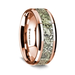 14K Rose Gold Polished Beveled Edges Wedding Ring with Green Dinosaur Bone Inlay - 8 mm