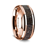 14K Rose Gold Polished Beveled Edges Wedding Ring with Dark Deer Antler Inlay - 8 mm