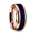 14K Rose Gold Polished Beveled Edges Wedding Ring with Purple Goldstone Inlay - 8 mm