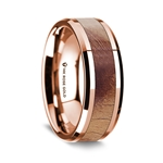 14K Rose Gold Polished Beveled Edges Men's Wedding Band with Olive Wood Inlay - 8 mm