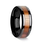 LEIFI Koa Wood Inlaid Black Titanium Ring with Bevels - 8 mm