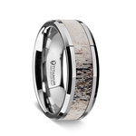 Polished Beveled Titanium Men's Wedding Band with Ombre Deer Antler Inlay - 8mm