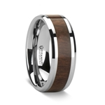 SCOTIA Beveled Titanium Ring with Black Walnut Wood Inlay - 8mm