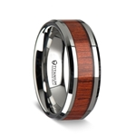 TALI Beveled Titanium Ring with Rosewood Inlay - 8mm