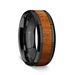Carpathian Wood Inlaid Black Titanium Ring with Bevels - 8mm