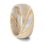 CERSEI Domed Brushed Damascus Steel Men's Wedding Band with A Vivid Etched Design- 6mm & 8mm