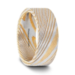 BISHOP Flat Brushed Damascus Steel Men's Wedding Band with A Vivid Etched Design- 6mm & 8mm