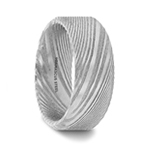 GHOST Beveled Brushed Damascus Steel Men's Wedding Band with A Vivid Etched Design- 6mm & 8mm