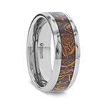 ABBA Men's Polished Tungsten Wedding Band with Sanskrit Stone Inlay Polished Beveled Edges - 8mm