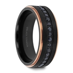ASTRO Flat Brushed Black Titanium Ring with Rose Gold Plated Inside and Black Sapphire Settings all around - 8mm