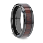KAI Beveled Black Ceramic Ring with Cocobolo Wood Inlay - 8mm