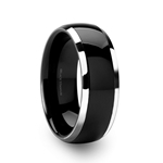 NOLAN Domed Titanium Wedding Band with Polished Edges - 8mm