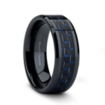 ZAYDEN Black Titanium Ring with Blue & Black Carbon Fiber Inlay and Bevels - 8mm