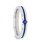 NYMERIA Tension Set Blue Sapphire Polished Titanium Band with Blue Stripe - 4mm