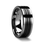 EDINBURGH Pipe Cut Grooved Tungsten Ring with Ceramic Inlay - 6mm - 10mm