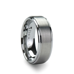 OPTIMUS Brush Finish Tungsten Carbide Ring with Raised Center - 4mm - 12mm