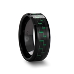 ATILUS Black Beveled Ceramic Ring with Black & Green Carbon Fiber - 8mm