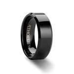 INFINITY Beveled Edge Black Tungsten Ring - 4mm - 12mm