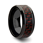 ANTONIUS Black Beveled Ceramic Ring with Black & Red Carbon Fiber - 4mm - 10mm